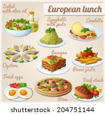 set of food icons. european...