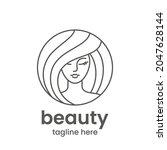 beauty emblem template. hair... | Shutterstock .eps vector #2047628144