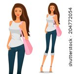 beautiful young girl in casual...   Shutterstock .eps vector #204772054