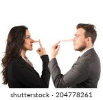 concept of lie with couple with ... | Shutterstock . vector #204778261