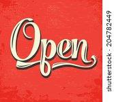 retro open sign  illustration... | Shutterstock .eps vector #204782449