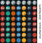 calendar april 2015 with flat... | Shutterstock .eps vector #204782695