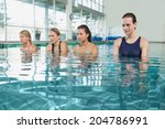 female fitness class doing aqua ... | Shutterstock . vector #204786991