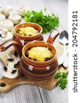 mushrooms baked with cheese... | Shutterstock . vector #204792181