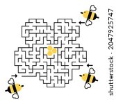 labyrinth. help 3 bee find way...   Shutterstock .eps vector #2047925747