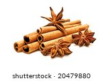 Cinnamon And Anise Isolated On...