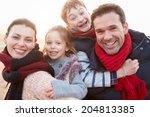 portrait of family on winter... | Shutterstock . vector #204813385