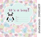 baby boy arrival card. baby... | Shutterstock .eps vector #204816859