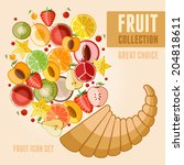 vector fruit icon set in flat... | Shutterstock .eps vector #204818611