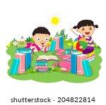 kids studying book | Shutterstock . vector #204822814