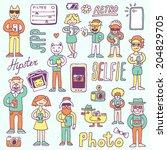hipster doodles selfie set... | Shutterstock .eps vector #204829705
