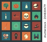 halloween flat icons set | Shutterstock .eps vector #204830479