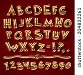 golden retro 3d font with...   Shutterstock .eps vector #204832261