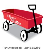 red kid hand wagon  flying...   Shutterstock .eps vector #204836299