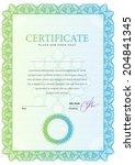 vertical template certificate... | Shutterstock .eps vector #204841345