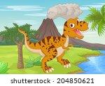prehistoric scene with... | Shutterstock .eps vector #204850621