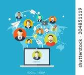 flat social media and network... | Shutterstock .eps vector #204851119