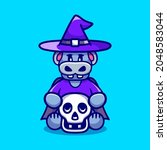Cute Witch Hippo Holding Skull  ...