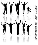 ten silhouettes of people... | Shutterstock . vector #20486159