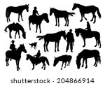 horses and people silhouettesn... | Shutterstock .eps vector #204866914
