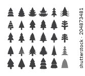 christmas tree icon set  each... | Shutterstock .eps vector #204873481