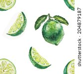 watercolor lime pattern | Shutterstock . vector #204879187