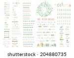 Stock vector floral decor set different vector brushes and decor elements isolated 204880735