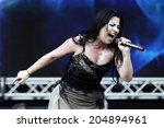 Small photo of MILAN, ITALY - JULY 06: Amy Lee of Evanescence performs at the 2012 Heineken Jamming Festival of on July 6, 2012 in Milan, Italy.