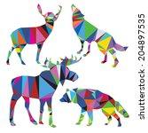 vector wolf  deer  moose in... | Shutterstock .eps vector #204897535