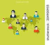 flat social media and network... | Shutterstock .eps vector #204900955