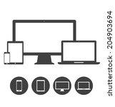set of display  laptop  tablet... | Shutterstock .eps vector #204903694