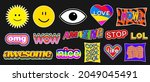 set of trendy colorful stickers....   Shutterstock .eps vector #2049045491