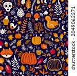 autumn seamless pattern with...   Shutterstock .eps vector #2049063371