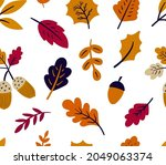 seamless pattern with autumn...   Shutterstock .eps vector #2049063374