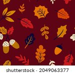 seamless pattern with autumn...   Shutterstock .eps vector #2049063377