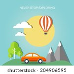 travel flat illustration with... | Shutterstock .eps vector #204906595
