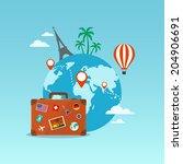 travel suitcase with globe and... | Shutterstock .eps vector #204906691