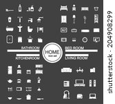 living room   bedroom   kitchen ... | Shutterstock .eps vector #204908299