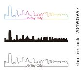 jersey city skyline linear... | Shutterstock . vector #204909697