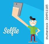 taking selfie photo on smart...   Shutterstock .eps vector #204911185