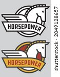 Horse Power Vector Badge Or...