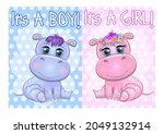 Two Cute Cartoon Hippo With...