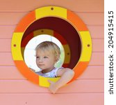 happy child  adorable blonde... | Shutterstock . vector #204915415