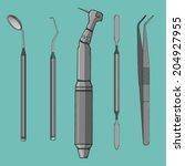 dental instruments  hand drawn...
