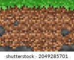 cubic pixel grass and ground...