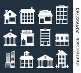 white flat vector buildings set.... | Shutterstock .eps vector #204932761