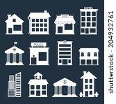 white flat vector buildings set.... | Shutterstock .eps vector #204932761