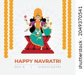 goddess durga devi in happy...   Shutterstock .eps vector #2049370541