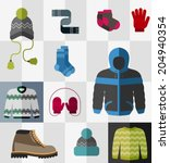 various types of winter clothes ...