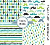 vector set of seamless hipster... | Shutterstock .eps vector #204944911